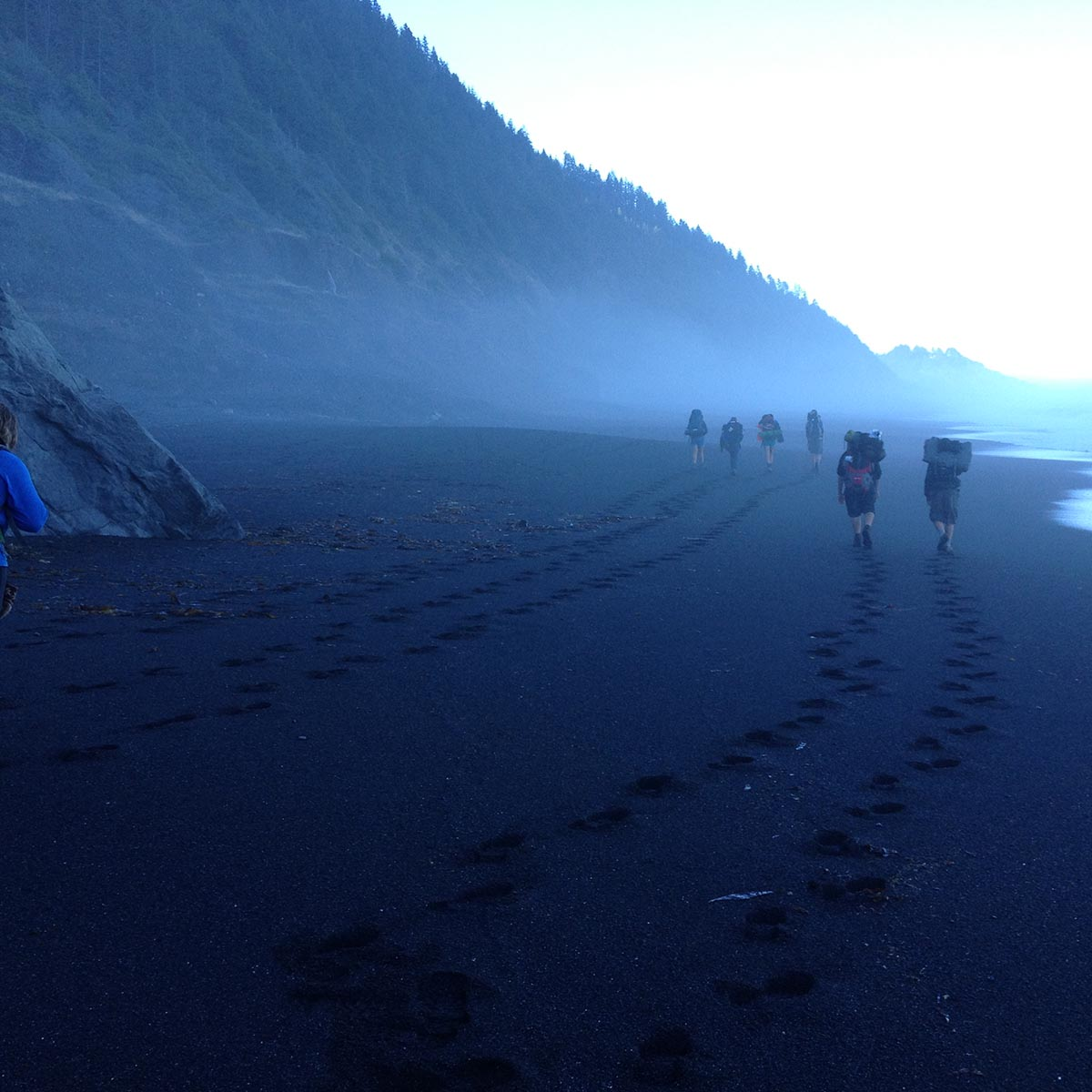 Our Graduate Campers Hiking along the Lost Coast on their way to Black Sands Beach.